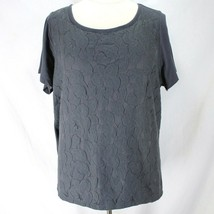 Lane Bryant Knit Top Womens 22/24 Gray Lace Overlay Front Short Sleeve Shirt  - $12.99