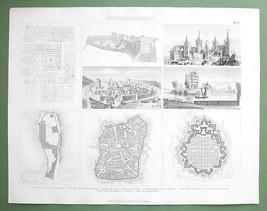 MEDIEVAL TOWNS Nuremberg & Wartburg Castle Manheim - 1870 Original Engra... - $16.20