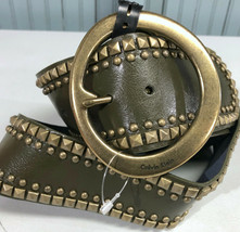 Vintage Calvin Klein Womens Wide Heavy Brass Buckle Leather  Fashion Belt  - $32.15