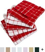 Kitchen Dish Clothes Set 6 pcs Ultra Absorbent Cloths Windowpane Red Towels - $11.18