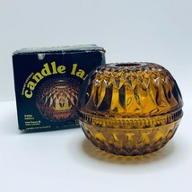 Indiana Glass Amber Mount Vernon Round Candle Holder Fairy Lamp Model No. 2406 - $20.56