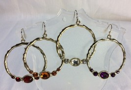 Bejewelled Hoop Earrings Bundle Set of 4, Avon, Gold Tone, Different Col... - $8.75
