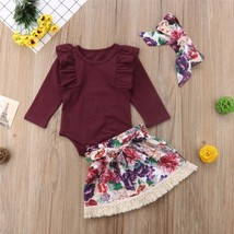 Emmababy  Toddler Kid Baby Girls Floral Tops Romper Skirts Headband Outf... - $9.39
