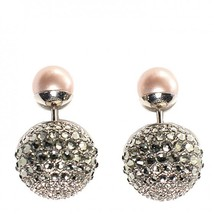 Authentic Christian Dior Mise En Dior Pink Black Crystal Pearl Tribal Earrings R