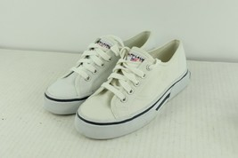 NOS Vtg 90s Polo Sport Ralph Lauren Womens 6.5 Spell Out Canvas Sneakers White - $79.15