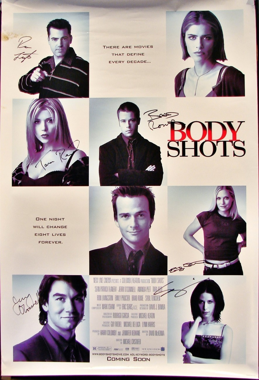 """1999 BODY SHOTS Movie POSTER 27x40"""" SIGNED RON LIVINGSTON JERRY O'CONNELL & 4+"""