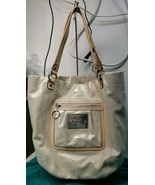Coach Bella Tote Shoulder Bag Poppy Shimmering Ivory With Tan Patent Lea... - $69.30