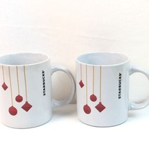 Starbucks Mugs Two Ornament Design Set 10.8 Oz White Red NEW - $31.92
