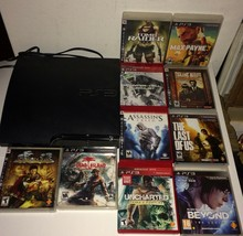 Sony Playstation 3 160 GB PS3 Video Game System Gamers Lot Plus 10 Video Games - $199.99