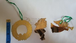3 Vintage Gold Metal Die Cut Christmas Xmas Holiday tree Ornaments Hong ... - $12.52