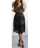New black lace V neck backless midi knee length women petite dress sprin... - $46.00