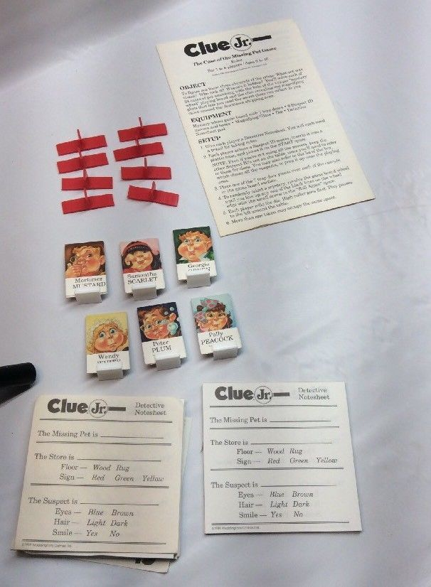 Clue Jr Board Game 1989 Replacement Parts And Similar Items