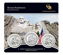 2013 P D & S US Mint Mount Rushmore ATB Quarters 3 Coin Set Sealed W COA... - $23.95