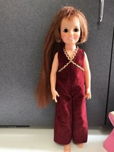 "Vintage 1968 Crissy Ideal toy Corp 18"" doll in Red Velvet Jumper w under... - $29.65"