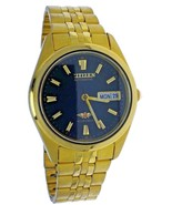 NEW Vintage Men Automatic 21 Jewels CITIZEN Gold & Black Dial Watch With... - $233.74