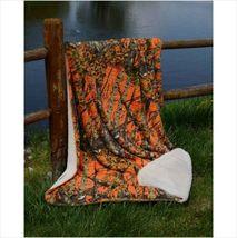 "Throw Blanket ORANGE CAMO WOODS Camouflage Sherpa Ultra Plush Soft 50 x 70"" - $46.40 CAD"