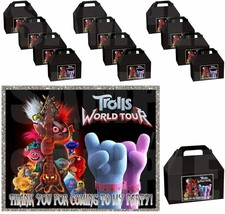 TROLLS Party Favor Boxes Thank you Decals Stickers Loots Party 12PC Diam... - $24.70