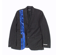INC Mens Blazer Black Pinstripe with Blue Contrast Stripes, Size Large - $49.49
