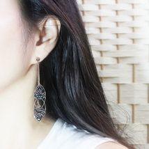 Handmade Oval Ellipse Made With Swarovski Stone Drop Dangle Earrings Brass E201 image 8