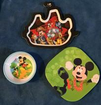 Disney Mickey Mouse Goofy Pluto pirate ship melamine Plates Bowl Hawaiian - $22.76