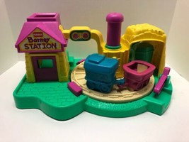 BARNEY Push & Go Spinning Train Station Toy Vintage 1990 Playskool Playset - $39.55