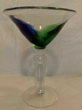 Mouth Blown Margarita Martini Glass: Blue Green At Base Of Cup Clear Min... - $13.99