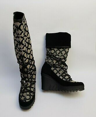 Primary image for Coach Womens Maisy Signature Logo Boots Shoes Wedge Black White Size US 5.5 B