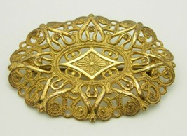 Miriam Haskell Gold Tone Ornate Open Work Pin Brooch Vintage - $49.49