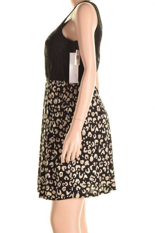 Kensie Black Contrast Lace Top Cheetah Print Skirt Sleeveless Dress S image 3