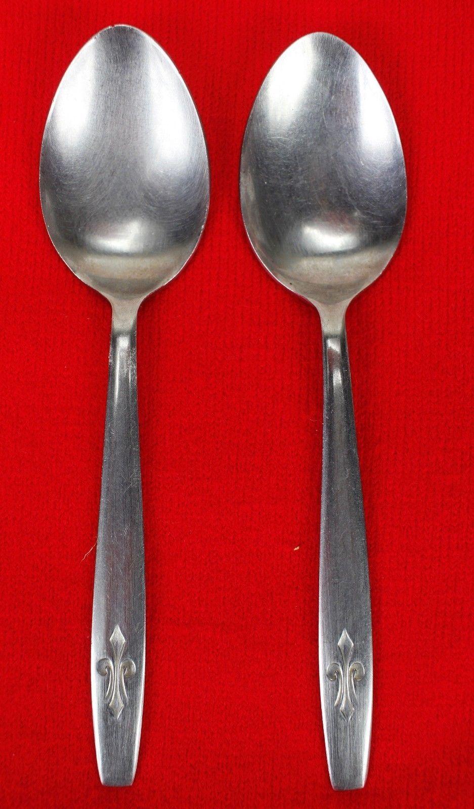 "2X Teaspoons CI Japan CIF10 Stainless Glossy Flatware 6"" Tea Spoon Fleur De Lis"