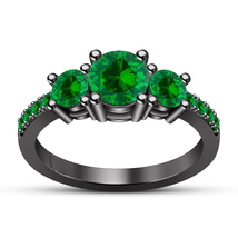 Engagement Three Stone Ring Round Cut Green Sapphire Black Gold Over 925... - $108.09 CAD