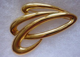 Vintage Signed M.LENT Goldtone Pin Brooch Modernist - $12.05