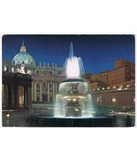 Italy Postcard Vatican City St Peter's Square At Night - $2.14