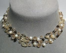 STERLING SILVER Stretchy Citrine Stone Smoky Quartz Crystals 3 Strand Ne... - $36.61