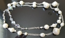 VTG Long Silver Tone Faux Pearl and Aurora Borealis Beaded Necklace - Unsigned - $9.90