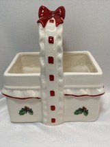 VINTAGE Lefton White Holly Berries Basket Red Ribbon & Bow 1983 Hand Painted - $9.99