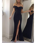 Women's Off Shoulder Evening Gown - Front Slit / Short Sleeves Party Dress - $20.00