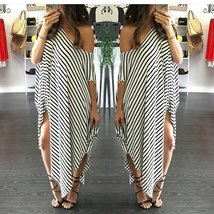 Sexy Women Short Sleeve Party Evening Cocktail Casual Striped Dress Long Dress