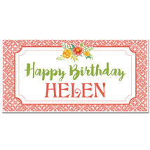 Flower Birthday Banner Personalized Party Backdrop - $23.64