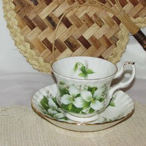VINTAGE ROYAL ALBERT TRILLIUM FOOTED CUP & SAUCER BONE CHINA WHITE FLOWERS  - $21.99