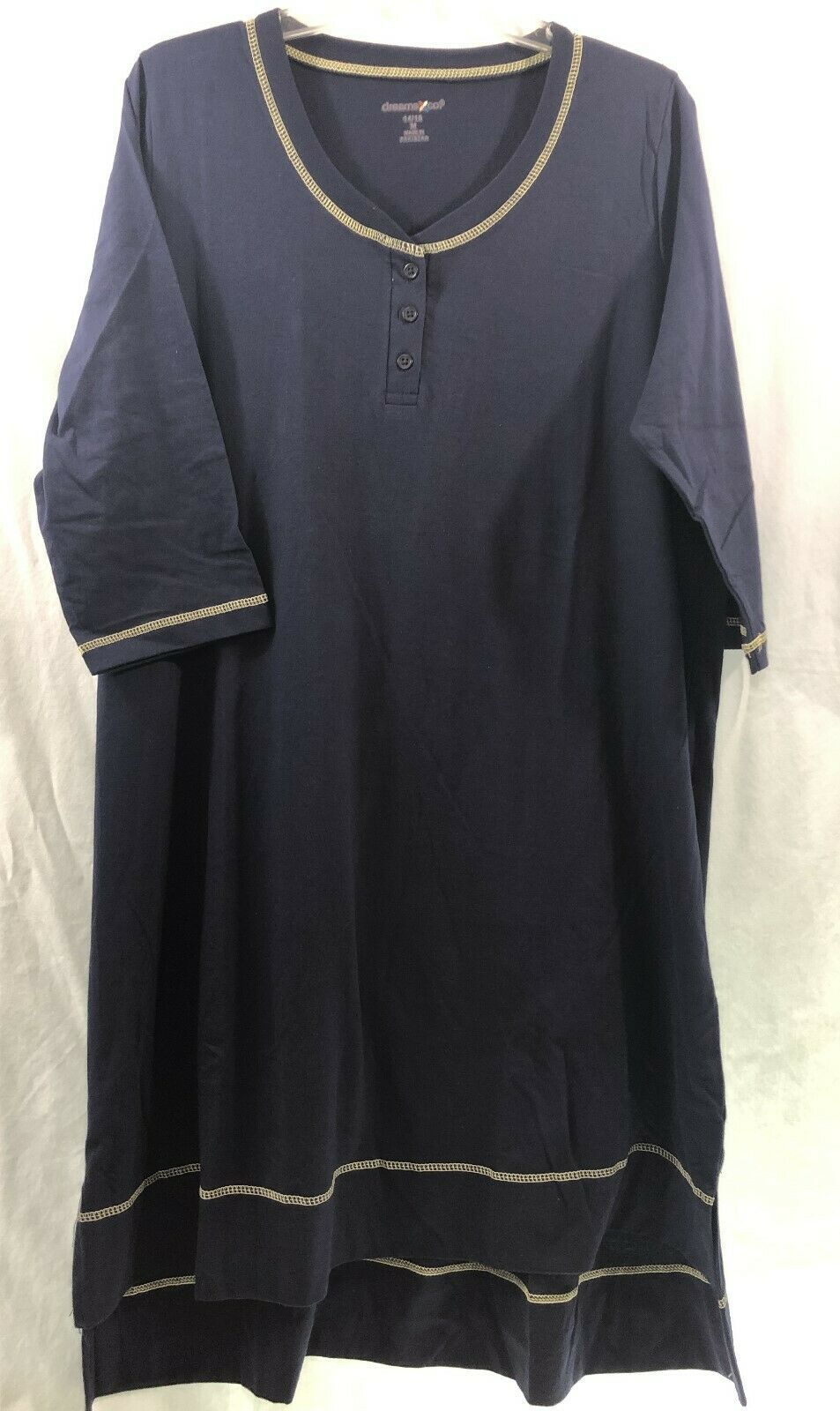 Primary image for Dreams + Co Navy Sleepshirt 3/4 Sleeves Henley Style Neckline High Low Hem
