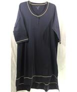 Dreams + Co Navy Sleepshirt 3/4 Sleeves Henley Style Neckline High Low Hem - $21.99