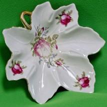 Vintage Lefton China Leaf-Shaped Candy Dish, Discontinued Crimson Rose P... - $3.95
