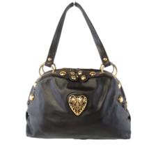 Gucci Black Leather Babouska Heart Dome Medium Satchel Bag - $649.00
