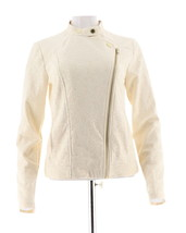 Isaac Mizrahi Stretch Lace Motorcycle Jacket Cream M NEW A288650 - $56.41