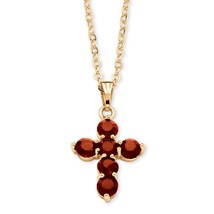 "Birthstone Gold Tone Cross Necklace 18"" - $20.82"