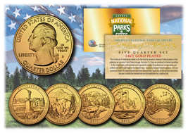2011 America The Beautiful 24K GOLD PLATED Quarters Parks 5-Coin Set w/C... - $12.82