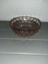 "Pink Depression Jeanette Glass 6.75"" Cube Cubist Optic Pattern Bowl Diam... - $17.99"