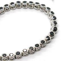 Bracelet Tennis, Argent 925, Zirconia Cubique Noirs, Taille Brillant, 3 MM image 3
