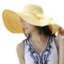CHAMSGEND Women Big Brim Straw Hat Sun Floppy Wide Brim Hats New Bowknot Folding image 3